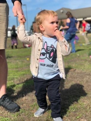 Uncertain at the Egg Hunt - holding Daddy's finger HARD